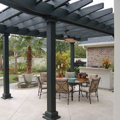 Pergola designs are variate and they each serve their users in different ways. So what is a pergola anyway? There are several types and various pergola plans, the open top type being the most popular one. Diy Pergola, Black Pergola, Steel Pergola, Patio Gazebo, Pergola With Roof, Cheap Pergola, Outdoor Pergola, Pergola Shade, Pergola Kits