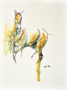Watercolor Ink and pen Horse Original Painting on by benedictegele
