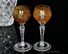 Amber Yellow Cut Crystal Liquor Glasses, Cordial Glasses, Grapes Decor