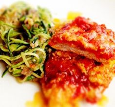 paleo chicken parmesan w/Bacon. Asparagus Zuchinni noodles