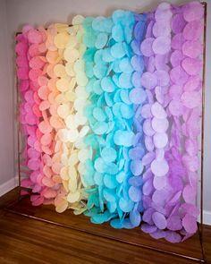 The Original Paper Circle Garland: Pastel Rainbow Rainbow Birthday, Rainbow Baby, Unicorn Birthday, Unicorn Party, Rainbow Party Decorations, Birthday Party Decorations, Party Themes, Homemade Party Decorations, Party Ideas