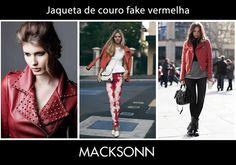 Invista na jaqueta vermelha de couro fake e arrase durante a estação mais fria do ano!