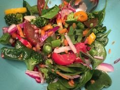 Sugar snap peas are high in vitamin C and fiber.  These sweet and crunchy veggies are low in calories and great in a salad!  Mix snap peas, spinach, broccoli, tomatoes, peppers, red onion, carrots and pomegranate seeds in a bowl.   Dress it with EVOO, red wine vinegar, salt and pepper.   Enjoy and happy salad eating!
