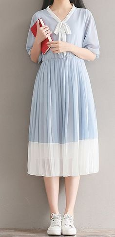 Women loose fit plus over size retro bow ribbon dress blue white skirt summer #unbranded
