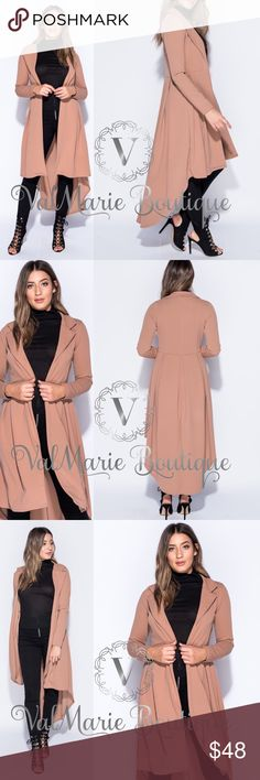 """Camel Dipped Hem Duster / Jacket This sunning lightweight pleated back duster / jacket is absolutely stunning and perfect for Fall!!! Pair with your favorite dress for the perfect night on the town! Will the holidays coming up, you will need a layering piece to cover you up while in your holiday attire. Stretchy crepe fabric- 95% polyester, 5% spandex. Approx 49.25"""" long. Model is wearing size 4. Have sizes 4-10. Fits true to size. ValMarie Jackets & Coats"""