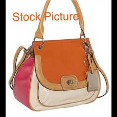 Etienne Aigner Valencia color block satchel Leather satchel or cross body , color block, burnt orange, cream, pink colors. Metal key ring not included. Excellent like new condition Etienne Aigner Bags Crossbody Bags
