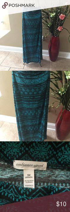 Bohemian. Hippie. Tribal. Maxi Skirt. Boho Chic. Bohemian. Hippie. Tribal Pattern. Maxi Skirt. Boho Chic. Summer ready. 3X Spandex/Polyester Greenish Blue & Black Ambiance Apparel Skirts Maxi