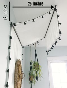 DIY Bed Canopy Tutorial - The Lilypad Cottage DIY Bed Canopy Tutorial - The Lilypad Cottage<br> DIY Bed Canopy Tutorial, use drapery panels, lightweight curtain rods and screw in hooks to create this easy and cute bed canopy. Lilypad Cottages, Diy Headboard, Room Diy, Diy Bed, Bed Design, Tween Girl Bedroom, Canopy Bed Diy, Girls Room Decor, Diy Canopy