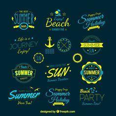 Badge Vectors, Photos and PSD files Lettering, Typography Logo, Logo Branding, Typography Design, Here Comes The Summer, Inspiration Logo Design, Summer Logo, Logos, Illustrator