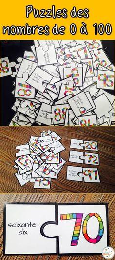 Casses-tête des nombres de 0 à 100. Cette activité est idéale pour les centres de mathématiques.