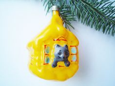 Cat House Christmas Glass Ornament