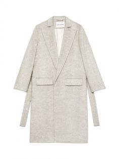 """Long coat in wool mix with oversized lapels. Two front pockets and closure belt at waist. Fully lined.  48% Virgin Wool 36% Mohair 16% Polyamid  THIS ITEM IS TRUE TO SIZE. Model is 178 cm / 5'84"""" and is wearing a size small."""