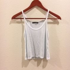 Brandy Melville James tank White but looks like there's a hint of blue, ribbed Brandy Melville Tops Tank Tops