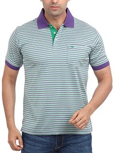 Park Avenue t-shirts are ahead of all the other brands in making a style statement. This Park Avenue Leisure Men Purple t-shirt is a stylish polo neck made of 100% cotton. This unconventionally designed T-shirt has a medium purple colored collar and sleeve hem. The button flap is in medium green color, which adds on to contrast. Wear it with black or blue jeans to work and look your best.