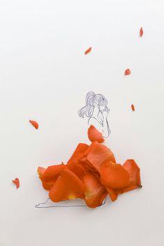 Red Rose Petals, Drawing Wallpaper, Illusion Art, Creative Artwork, Little Flowers, Flower Fashion, Manga Art, Diy Art, Art Sketches