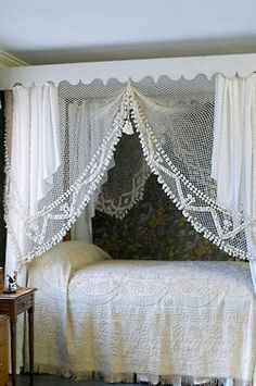 flyagaric:    berengia:    lace and pom pom canopy    dream bedroom