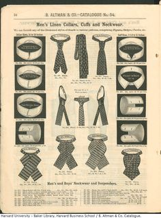 Men's Linen Collars, Cuffs and Neckwear from B. Altman & Co. Winter 1886-87 Catalogue