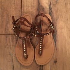 Studded Brown Sandals General ware, but in good condition. Perfect for Spring! Shoes Sandals