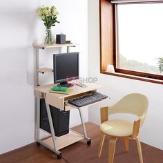 Mobile Computer Desk Tower Printer Shelf Laptop Rolling Table Study Home Office Mobile Computer Desk, Computer Workstation, Small Computer, Computer Desk Organization, Home Office Organization, Office Space Decor, Office Decorations, Decor Ideas, Wall Ideas
