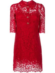 Dolce & Gabbana Lace Dress with Embellished Buttons, Women's, Size: 46, Red, Cotton/Nylon/Rayon