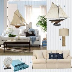 Beach Living Room with Sailboat and Seaside Accents