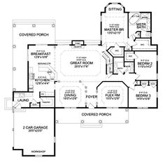 DELAFIELD II House Plan....would get rid of the covered side Porch expand the kitchen & breakfast area (pushing the laundry back toward the kitchen would let me build in dog crates that would be flush with the wall but be boxed in in the garage so they were still cooled.  I would put the porch all the way across the back & have double French doors off the master.