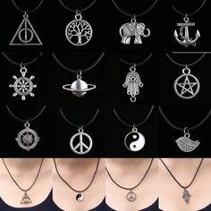 12 nuevo estilo de plata tibetana colgante collar gargantilla Charm negro cuerda de cuero precio de fábrica hechos a mano Jewlery(China (Mainland))