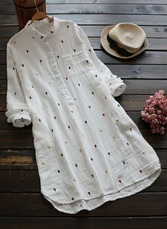 2017 Autumn Women Dress Mori Girl Loose Turn down Collar Dot Embroidery Long Sleeve Cotton Linen Shirt Dress vestidos femininos Hijab Fashion, Fashion Dresses, Women's Fashion, Linen Shirt Dress, Kurta Designs Women, Vestido Casual, Mode Outfits, Latest Fashion Trends, Clothes For Women