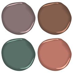 @countryliving: 10 Ways to Cozy Up Your Home for the Holidays: Experiment with warn, cozy paint colors (pictured, clockwise from top left: Benjamin Moore's Cinnamon Slate 2113-40, Hot Chocolate CC-484, Jack Pine 692, Spiced Apple Cider 1201)