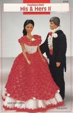 His & Hers II, Annie's Attic Crochet Fashion Doll Clothes Pattern Leaflet 87D32