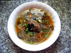 Here's my veggie filled spin on the Korean Kongnamulguk which is Soy Bean Sprout Soup! I love this soup and I think the shiitake mushrooms add some depth of flavor that isn't there if you only use the. Bean Sprout Soup, Bean Sprouts, Vegan Korean Food, Vegan Food, Asian Recipes, Ethnic Recipes, Soups And Stews, Stuffed Mushrooms, Veggies