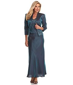 "KM Collections Shimmer Jacket Dress #Dillards....possibility but not sure of the color.  It says ""teal"" but looks blue to me.  ITEM #03139577"