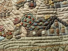 Reiko Kato - applique wallhanging quilt detail with house and harvesters. Folk / Japanese quilt.