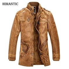Winter Leather Jacket Men Warm thick washed leather jackets Men's Biker Coat Stand Collar