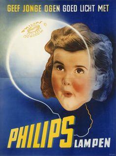 Philips gloeilampen, ontwerp Ger Dorant, Patz reclamestudio Amsterdam, ca. Vintage Advertising Posters, Old Advertisements, Vintage Posters, Old Poster, Poster Ads, Lps, Radios, Old Commercials, Art Deco Posters
