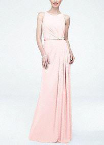 Love Sleeveless Crepe Bridesmaid Dress with Embellished Belt, Style F15638 in Petal pink. #davidsbriadl #bridesmaiddress #weddings