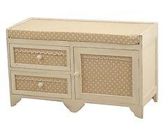 Cassapanca a 2 cassetti in legno e tessuto Virna - 70x40x30 cm