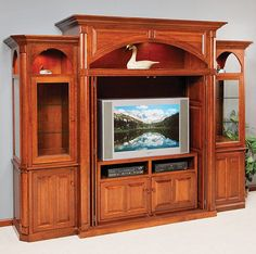 Solid Wood Amish Made Excelsior Deluxe Entertainment Center