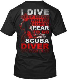 Scuba Diving Fear Black T-Shirt Back