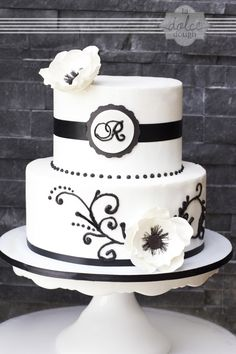 Black and White Anemone Scroll Vow Renewal Cake