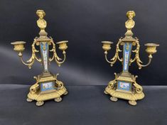 A PAIR OF 19TH C. DORE BRONZE MOUNTED SEVRES CANDELABRA Business Checks, Antique Auctions, Candelabra, Louvre, Bronze, Pairs, Antiques, Antiquities, Chandelier
