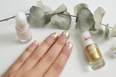 """Graphic golden nails"" tutorial by beauty blogger @erikanaakka was created with Lumene Gel Effect nail polishes. #nailpolish #lumene"