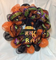 """Halloween Trick or Treat wreath. Orange black metallic stripe mesh, witch's hat sign in center, felt stickers, 20"""" wreath. Chenille hanger by KhQualityCreations on Etsy"""