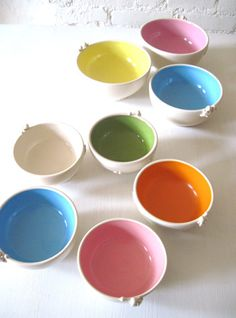 Rainbow Color Angel Bowl with Heart by Hidemi Ceramic