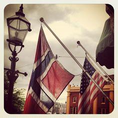 Norwegian flag in Bergen, Norway