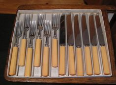 Bakelite in the Kitchen Dinner for 6 ~ 6 Forks, 6 Knives in Original Box Yellow in Collectibles, Kitchen & Home, Kitchenware | eBay