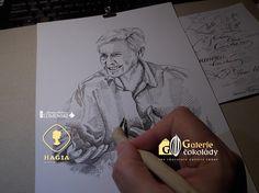 Portrét paní profesorky Hogenové, kresba tuší Chocolate, Chocolates, Brown