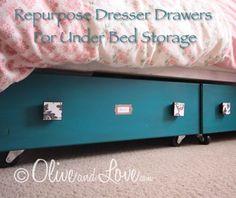 Repurpose Dresser Drawers For Under Bed Storage