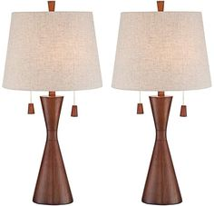 Modern Brown Hourglass Table Lamp Contemporary Home Living Room Bedroom Set of 2 | eBay