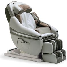 """The Only Whole Body Massage Chair - Hammacher Schlemmerr:  massages back, neck, shoulders, arms, and legs, w. deep-penetrating kneading, Shiatsu, and gentle traction to over 1,200"""" sq. of your body--more than any other massage chair in the world. Optical sensors scan your body for Shiatsu points, match your build to 106 profiles, and develop a customized program.  The leg rest gently stretch muscles in the calves, ankles, and feet and provide a soothing compression massage. Price $7,800"""